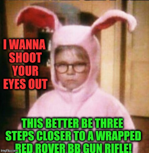 A Christmas Story | I WANNA SHOOT YOUR EYES OUT THIS BETTER BE THREE STEPS CLOSER TO A WRAPPED RED ROVER BB GUN RIFLE! | image tagged in christmas story | made w/ Imgflip meme maker
