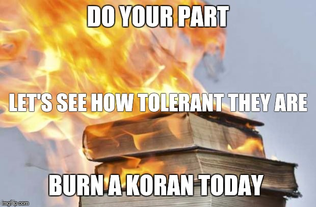burning books | DO YOUR PART BURN A KORAN TODAY LET'S SEE HOW TOLERANT THEY ARE | image tagged in burning books | made w/ Imgflip meme maker