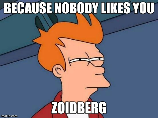 Futurama Fry Meme | BECAUSE NOBODY LIKES YOU ZOIDBERG | image tagged in memes,futurama fry | made w/ Imgflip meme maker