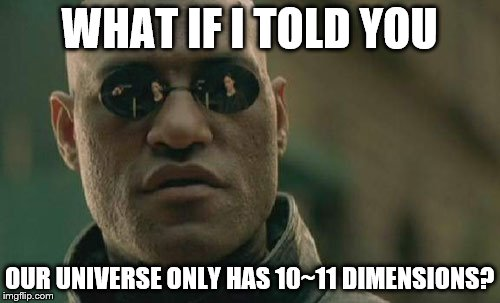 Matrix Morpheus Meme | WHAT IF I TOLD YOU OUR UNIVERSE ONLY HAS 10~11 DIMENSIONS? | image tagged in memes,matrix morpheus | made w/ Imgflip meme maker