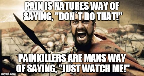 "Sparta Leonidas Meme | PAIN IS NATURES WAY OF SAYING, ""DON`T DO THAT!"" PAINKILLERS ARE MANS WAY OF SAYING, ""JUST WATCH ME!"" 