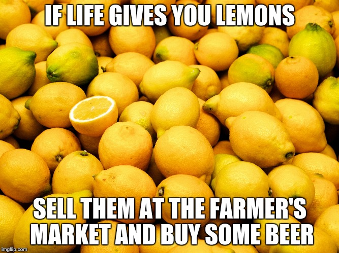 Lemons | IF LIFE GIVES YOU LEMONS SELL THEM AT THE FARMER'S MARKET AND BUY SOME BEER | image tagged in lemons | made w/ Imgflip meme maker