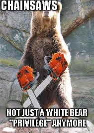 "CHAINSAWS NOT JUST A WHITE BEAR ""PRIVILEGE"" ANYMORE 