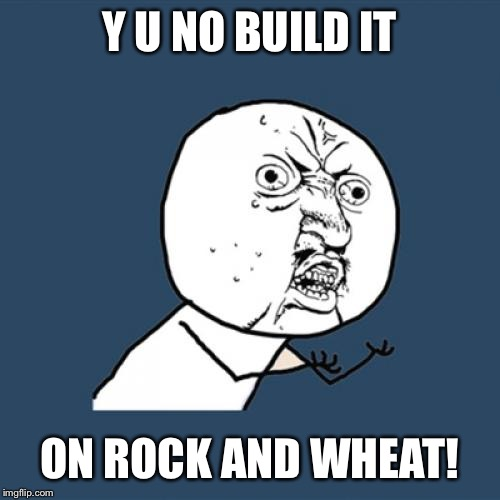 Y U No Meme | Y U NO BUILD IT ON ROCK AND WHEAT! | image tagged in memes,y u no | made w/ Imgflip meme maker