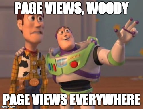X, X Everywhere Meme | PAGE VIEWS, WOODY PAGE VIEWS EVERYWHERE | image tagged in memes,x, x everywhere,x x everywhere | made w/ Imgflip meme maker