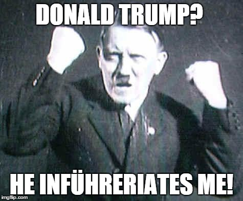 Hitler: Lord of The Pun | DONALD TRUMP? HE INFÜHRERIATES ME! | image tagged in angryhitler,donald trump,is a racist,lol,i see what you did there | made w/ Imgflip meme maker
