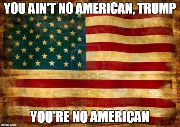 Old American Flag | YOU AIN'T NO AMERICAN, TRUMP YOU'RE NO AMERICAN | image tagged in old american flag | made w/ Imgflip meme maker