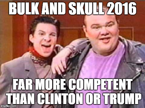 Bulk and Skull | BULK AND SKULL 2016 FAR MORE COMPETENT THAN CLINTON OR TRUMP | image tagged in power rangers,election 2016 | made w/ Imgflip meme maker