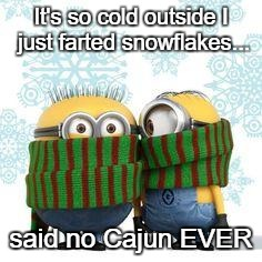 winter minions | It's so cold outside I just farted snowflakes... said no Cajun EVER | image tagged in winter minions | made w/ Imgflip meme maker