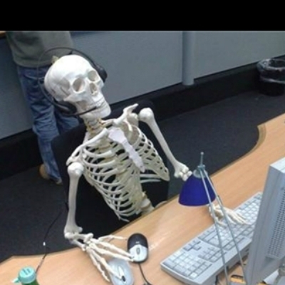 Image result for skeleton waiting computer