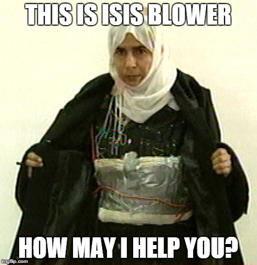 Isis Pinup | THIS IS ISIS BLOWER HOW MAY I HELP YOU? | image tagged in isis pinup | made w/ Imgflip meme maker
