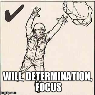 WILL, DETERMINATION, FOCUS | image tagged in arnocorps,tony stark success | made w/ Imgflip meme maker