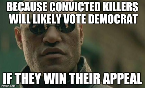 Matrix Morpheus Meme | BECAUSE CONVICTED KILLERS WILL LIKELY VOTE DEMOCRAT IF THEY WIN THEIR APPEAL | image tagged in memes,matrix morpheus | made w/ Imgflip meme maker