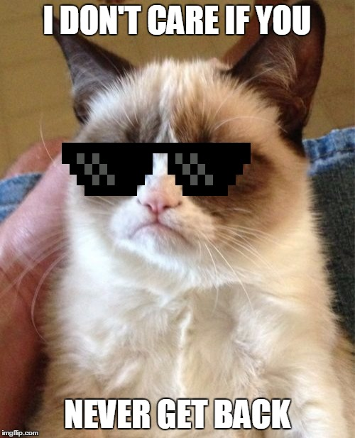 Grumpy Cat Meme | I DON'T CARE IF YOU NEVER GET BACK | image tagged in memes,grumpy cat | made w/ Imgflip meme maker