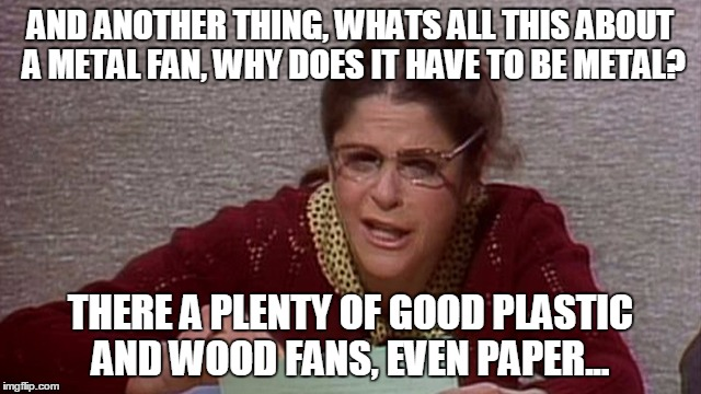 AND ANOTHER THING, WHATS ALL THIS ABOUT A METAL FAN, WHY DOES IT HAVE TO BE METAL? THERE A PLENTY OF GOOD PLASTIC AND WOOD FANS, EVEN PAPER. | made w/ Imgflip meme maker