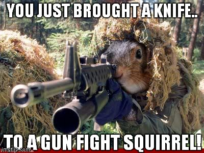 YOU JUST BROUGHT A KNIFE.. TO A GUN FIGHT SQUIRREL! | made w/ Imgflip meme maker