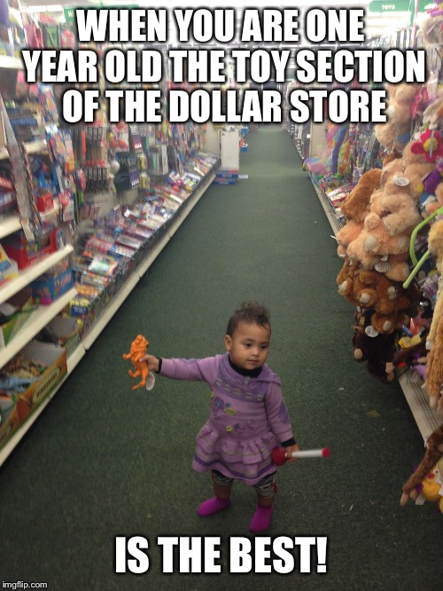 Baby at dollar store | WHEN YOU ARE ONE YEAR OLD THE TOY SECTION OF THE DOLLAR STORE IS THE BEST! | image tagged in baby at dollar store | made w/ Imgflip meme maker
