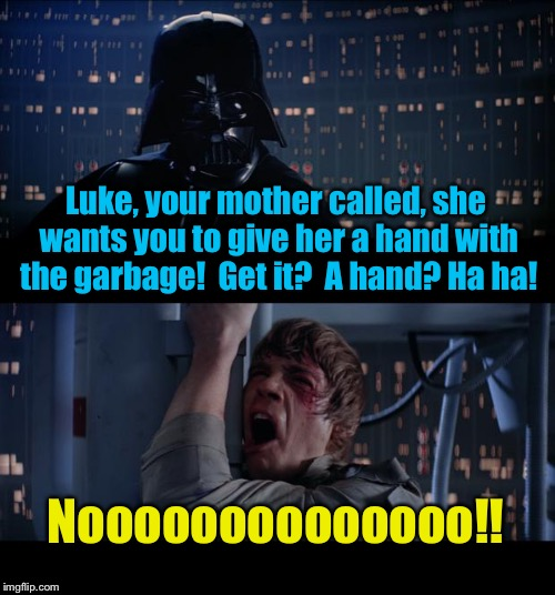 Star Wars One hand No | Luke, your mother called, she wants you to give her a hand with the garbage!  Get it?  A hand? Ha ha! Noooooooooooooo!! | image tagged in memes,star wars no | made w/ Imgflip meme maker