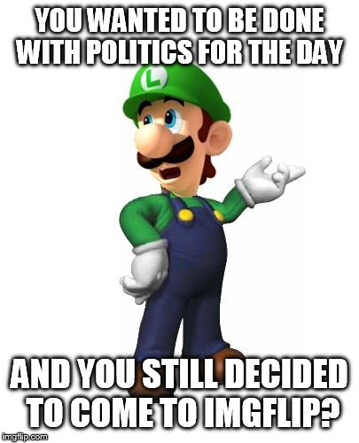 Logic Luigi | YOU WANTED TO BE DONE WITH POLITICS FOR THE DAY AND YOU STILL DECIDED TO COME TO IMGFLIP? | image tagged in logic luigi | made w/ Imgflip meme maker