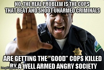 "NO, THE REAL PROBLEM IS THE COPS THAT BEAT AND SHOOT UNARMED CRIMINALS ARE GETTING THE ""GOOD"" COPS KILLED BY A WELL ARMED ANGRY SOCIETY 