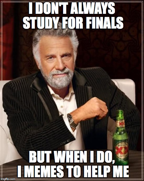 The Most Interesting Man In The World Meme | I DON'T ALWAYS STUDY FOR FINALS BUT WHEN I DO, I MEMES TO HELP ME | image tagged in memes,the most interesting man in the world | made w/ Imgflip meme maker