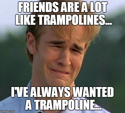 1990s First World Problems | FRIENDS ARE A LOT LIKE TRAMPOLINES... I'VE ALWAYS WANTED A TRAMPOLINE... | image tagged in memes,1990s first world problems | made w/ Imgflip meme maker
