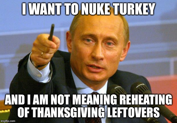 Microwaving Turkey | I WANT TO NUKE TURKEY AND I AM NOT MEANING REHEATING OF THANKSGIVING LEFTOVERS | image tagged in memes,good guy putin,turkey | made w/ Imgflip meme maker