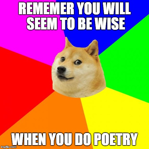 Advice Doge | REMEMER YOU WILL SEEM TO BE WISE WHEN YOU DO POETRY | image tagged in memes,advice doge | made w/ Imgflip meme maker