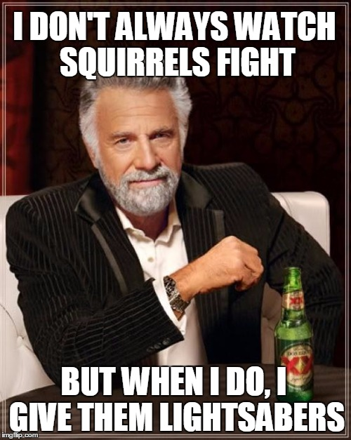 The Most Interesting Man In The World Meme | I DON'T ALWAYS WATCH SQUIRRELS FIGHT BUT WHEN I DO, I GIVE THEM LIGHTSABERS | image tagged in memes,the most interesting man in the world | made w/ Imgflip meme maker