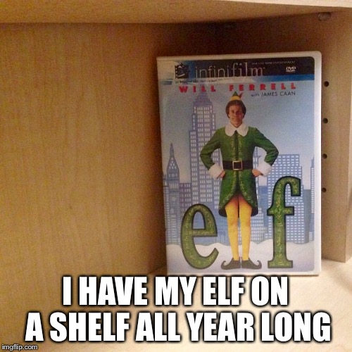 Elf on a shelf | I HAVE MY ELF ON A SHELF ALL YEAR LONG | image tagged in christmas,funny | made w/ Imgflip meme maker