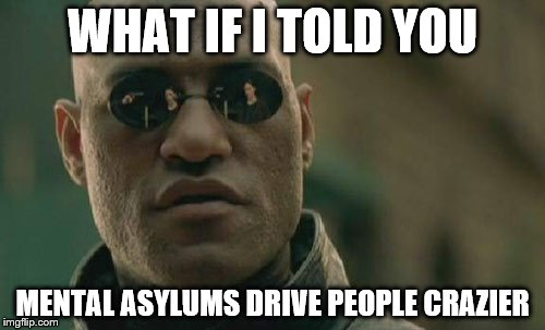 Matrix Morpheus Meme | WHAT IF I TOLD YOU MENTAL ASYLUMS DRIVE PEOPLE CRAZIER | image tagged in memes,matrix morpheus | made w/ Imgflip meme maker