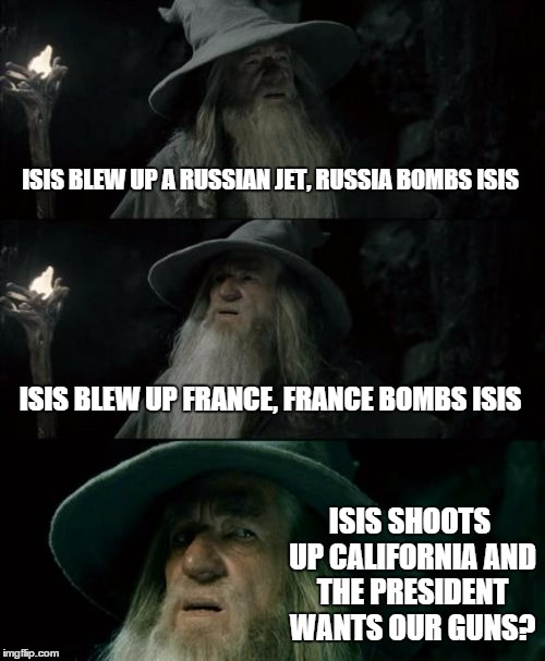 Whose side is this guy on? | ISIS BLEW UP A RUSSIAN JET, RUSSIA BOMBS ISIS ISIS BLEW UP FRANCE, FRANCE BOMBS ISIS ISIS SHOOTS UP CALIFORNIA AND THE PRESIDENT WANTS OUR G | image tagged in memes,confused gandalf | made w/ Imgflip meme maker