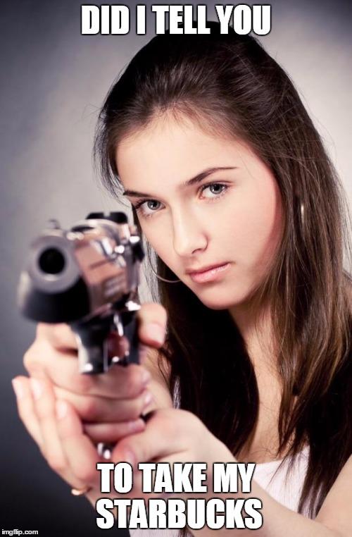 vpqmt girl with gun meme generator imgflip,Starbucks Meme Generator