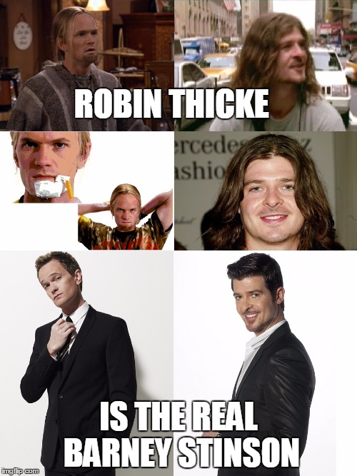 ROBIN THICKE IS THE REAL BARNEY STINSON | image tagged in barney stinson,robin thicke,funny,comparison,awesome,wow | made w/ Imgflip meme maker