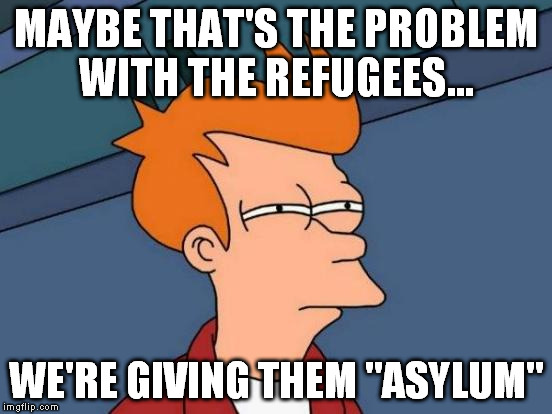"Futurama Fry Meme | MAYBE THAT'S THE PROBLEM WITH THE REFUGEES... WE'RE GIVING THEM ""ASYLUM"" 
