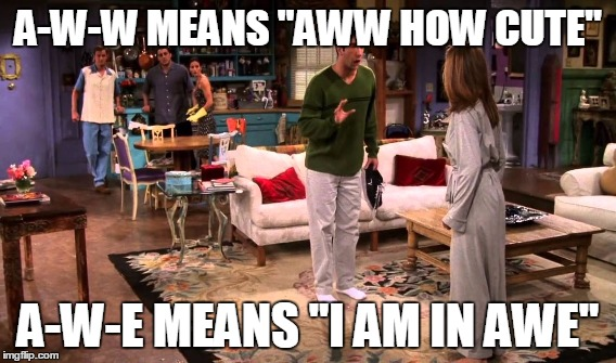 "A-W-W MEANS ""AWW HOW CUTE"" A-W-E MEANS ""I AM IN AWE"" 