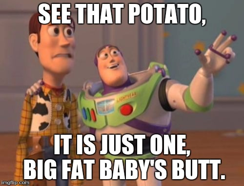 X, X Everywhere Meme | SEE THAT POTATO, IT IS JUST ONE, BIG FAT BABY'S BUTT. | image tagged in memes,x x everywhere | made w/ Imgflip meme maker