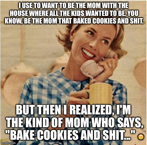 innocent mom | I USE TO WANT TO BE THE MOM WITH THE HOUSE WHERE ALL THE KIDS WANTED TO BE. YOU KNOW, BE THE MOM THAT BAKED COOKIES AND SHIT. BUT THEN I REA | image tagged in innocent mom | made w/ Imgflip meme maker
