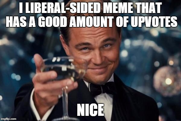 Leonardo Dicaprio Cheers Meme | I LIBERAL-SIDED MEME THAT HAS A GOOD AMOUNT OF UPVOTES NICE | image tagged in memes,leonardo dicaprio cheers | made w/ Imgflip meme maker