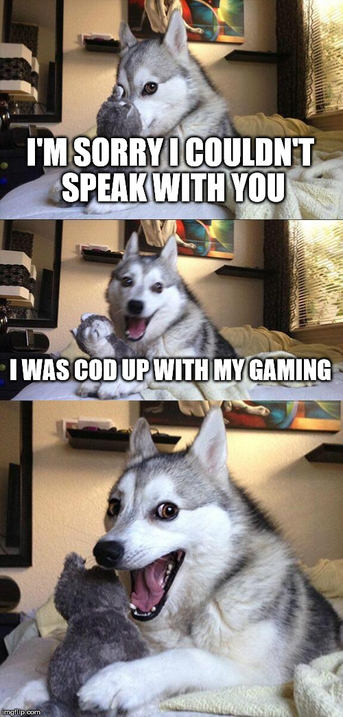 Bad Pun Dog Meme | I'M SORRY I COULDN'T SPEAK WITH YOU I WAS COD UP WITH MY GAMING | image tagged in memes,bad pun dog | made w/ Imgflip meme maker