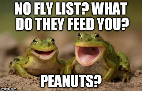 NO FLY LIST? WHAT DO THEY FEED YOU? PEANUTS? | made w/ Imgflip meme maker