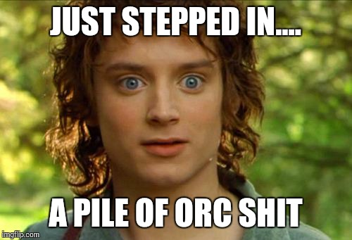 Surpised Frodo | JUST STEPPED IN.... A PILE OF ORC SHIT | image tagged in memes,surpised frodo | made w/ Imgflip meme maker