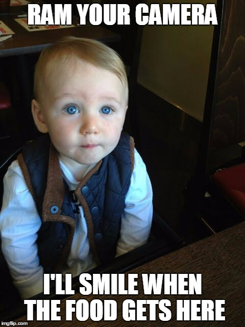 Feed me. | RAM YOUR CAMERA I'LL SMILE WHEN THE FOOD GETS HERE | image tagged in hungry kids | made w/ Imgflip meme maker