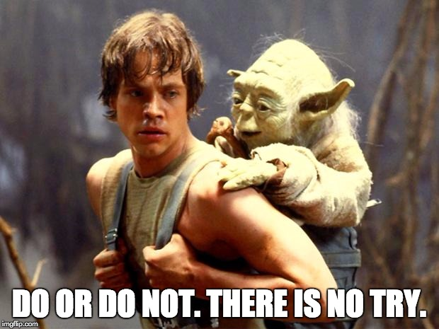 Luke and Yoda | DO OR DO NOT. THERE IS NO TRY. | image tagged in luke and yoda | made w/ Imgflip meme maker