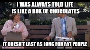 forrest gump box of chocolates | I WAS ALWAYS TOLD LIFE IS LIKE A BOX OF CHOCOLATES IT DOESN'T LAST AS LONG FOR FAT PEOPLE | image tagged in forrest gump box of chocolates | made w/ Imgflip meme maker