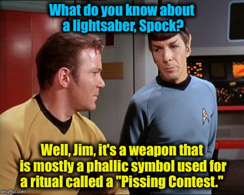 "Spock and Kirk talk about ""The Force Awakens"" on the bridge of the Enterprise............. 