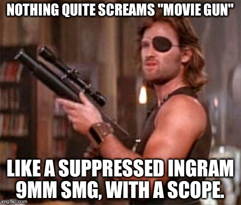 "Kurt Russell | NOTHING QUITE SCREAMS ""MOVIE GUN"" LIKE A SUPPRESSED INGRAM 9MM SMG, WITH A SCOPE. 