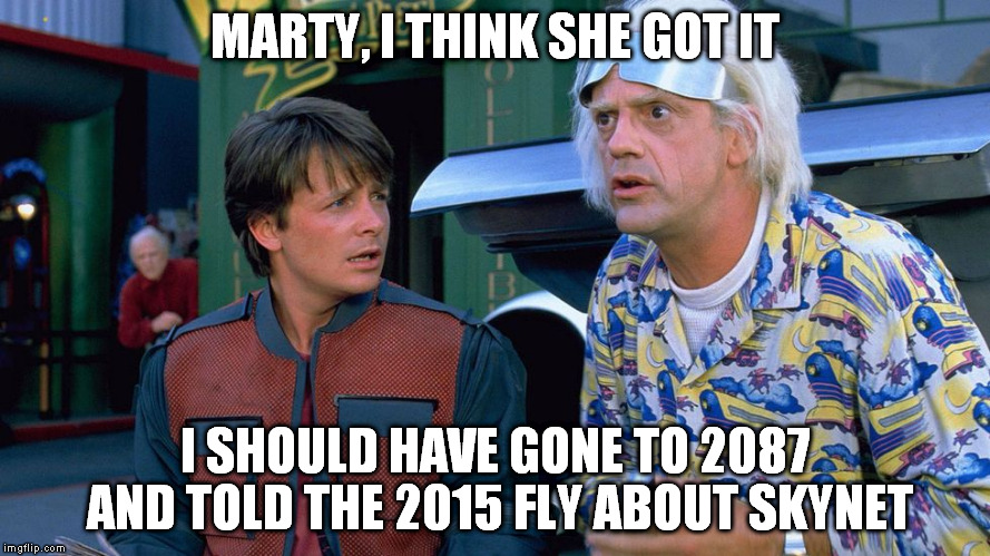 MARTY, I THINK SHE GOT IT I SHOULD HAVE GONE TO 2087 AND TOLD THE 2015 FLY ABOUT SKYNET | made w/ Imgflip meme maker