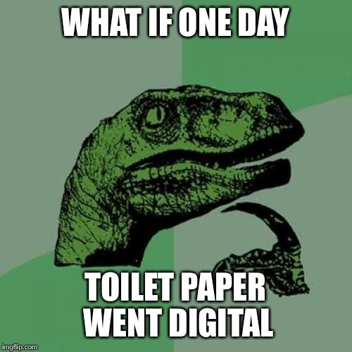 Digital Toilet Paper | WHAT IF ONE DAY TOILET PAPER WENT DIGITAL | image tagged in memes,philosoraptor,what if,toilet paper,paperless,digital | made w/ Imgflip meme maker