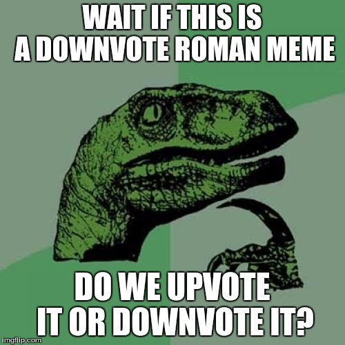Philosoraptor Meme | WAIT IF THIS IS A DOWNVOTE ROMAN MEME DO WE UPVOTE IT OR DOWNVOTE IT? | image tagged in memes,philosoraptor | made w/ Imgflip meme maker